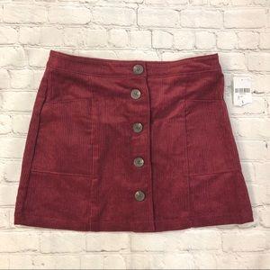 Chloe & Katie Burgundy Corduroy Mini Skirt Size Lg